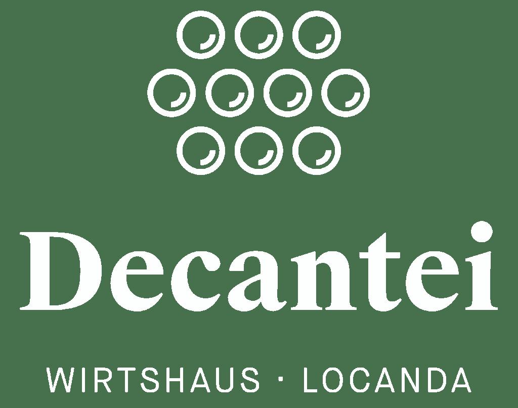 Das Logo vom Wirtshaus Decantei - weiss und transparent