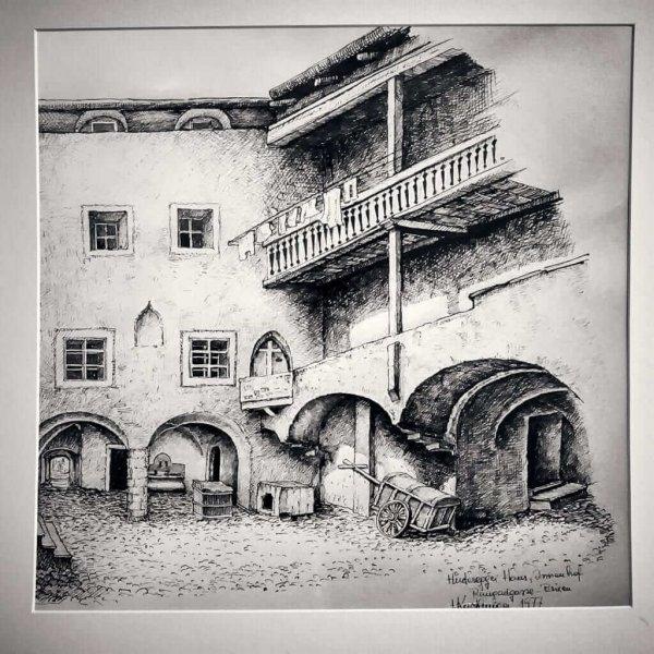 Eine historische Zeichnung des Restaurants aus dem Jahr 1977.